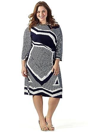 77ea6a6c7ddb Celebrations Women's Plus Size Good Vibes Dress 20 Black/Cream Print at  Amazon Women's Clothing store: