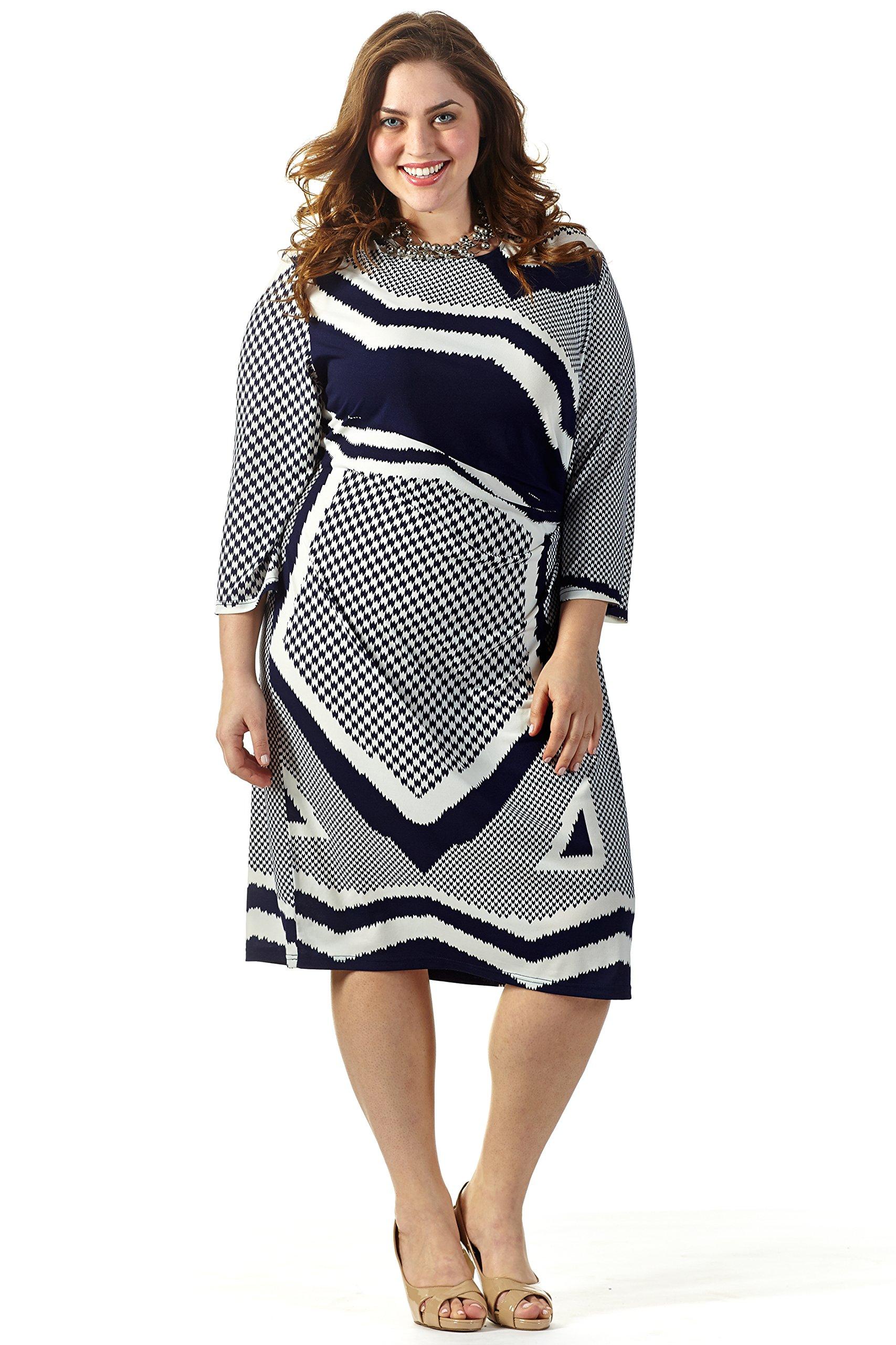 Celebrations Women's Plus Size Good Vibes Dress 16 Navy/Cream Print