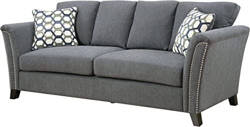 Furniture of America Heyer Contemporary Sofa with Pillows, Gray
