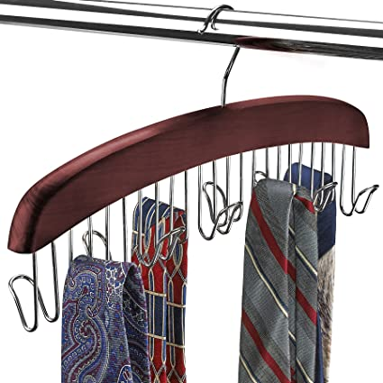 Scarf And Tie Hanger Closet Organiser And 12 Hook Wooden Tie Rack Hanger For Space Saving Solution And Perfect Space Saving Closet Makeover Mahogany Colour Amazon Co Uk Kitchen Home