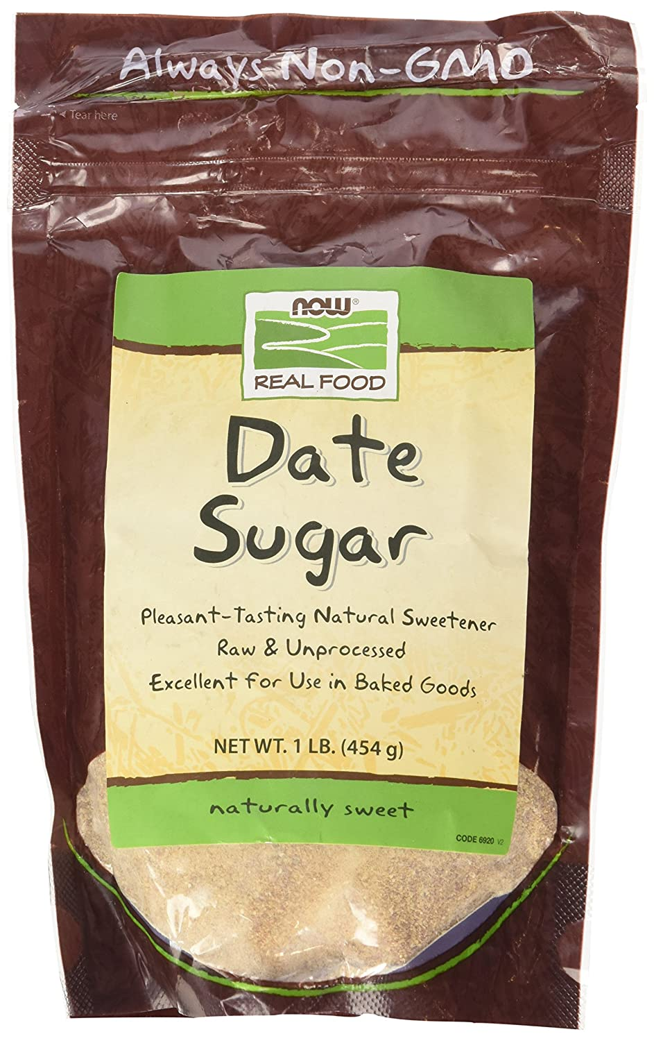 NOW Natural Foods, Date Sugar, Pleasant Sweetener in Baked Goods, Raw and Unprocessed, Certified Non-GMO, 1-Pound (Packaging May Vary)