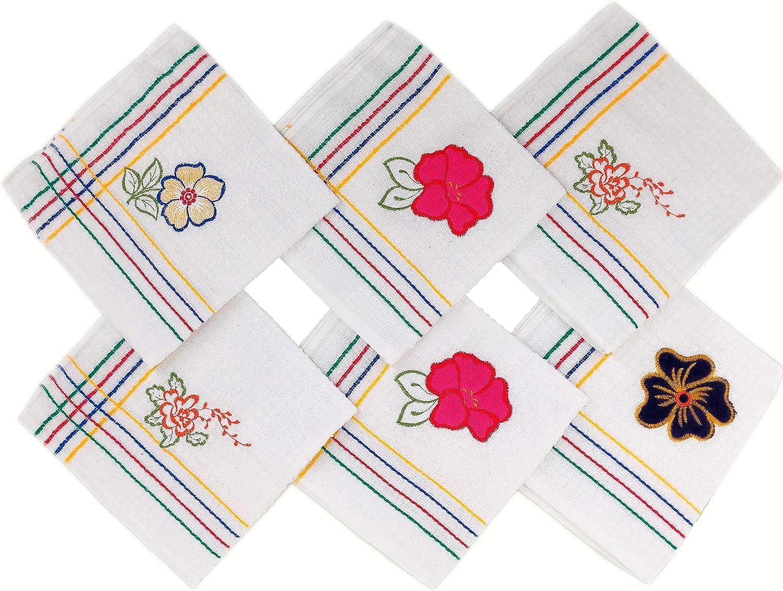 ZD Paños de Cocina Rizo 100% Algodón con Dibujo Bordado,Multicolor ...