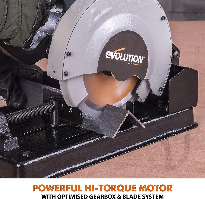 185 mm Evolution Power Tools Build RAGE4 Multi-Purpose Chop Saw 110 V with Diamond Blade 185 mm