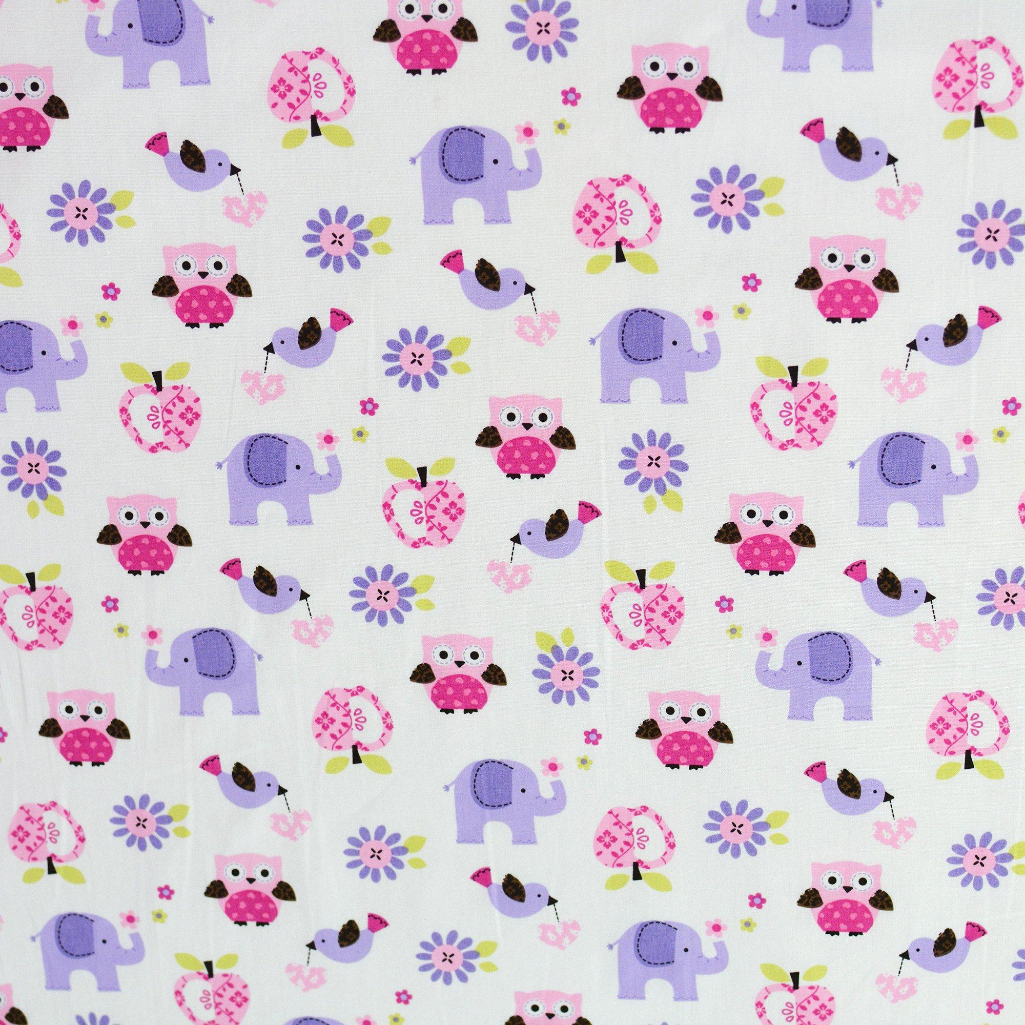 Brandream Crib Bedding Sets For Girls With Bumper Purple Owl And Elephant Nursery Bedding Set ,8pcs