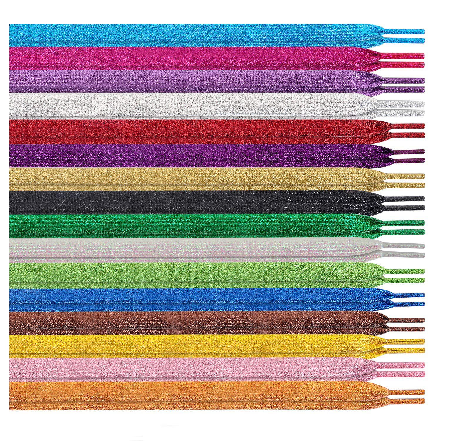 MarJunSep Shimmery glitter 42'' Solid Colors Flat Shoelaces Shoe Laces strings for Teams Cheer Dance Sneakers by MarJunSep