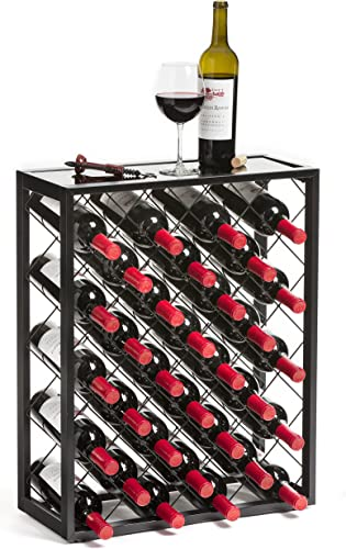 Mango-Steam-32-Bottle-Wine-Rack-with-Glass-Table-Top,-Black