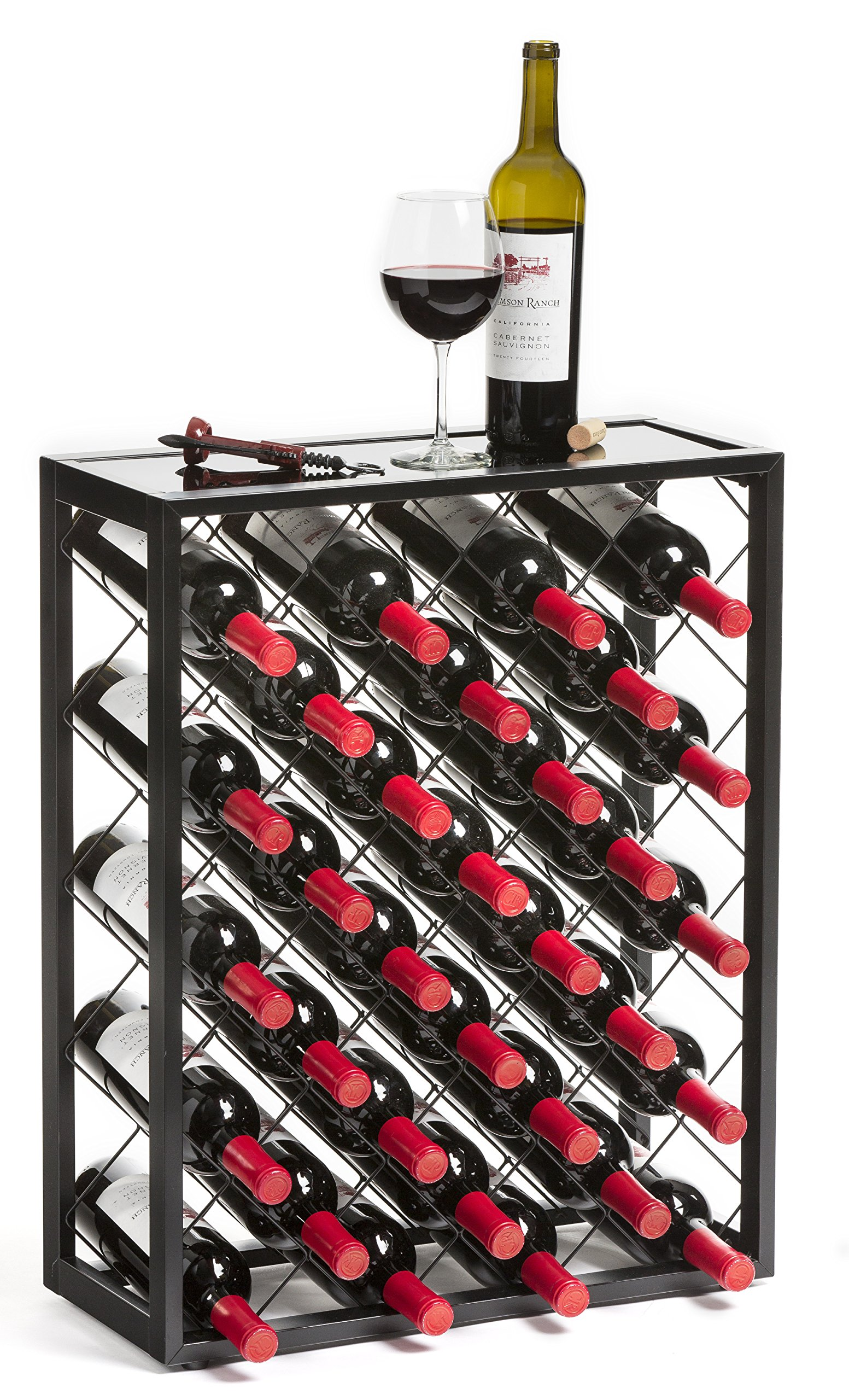 Mango Steam 32 Bottle Wine Rack with Glass Table Top, Black by Mango Steam