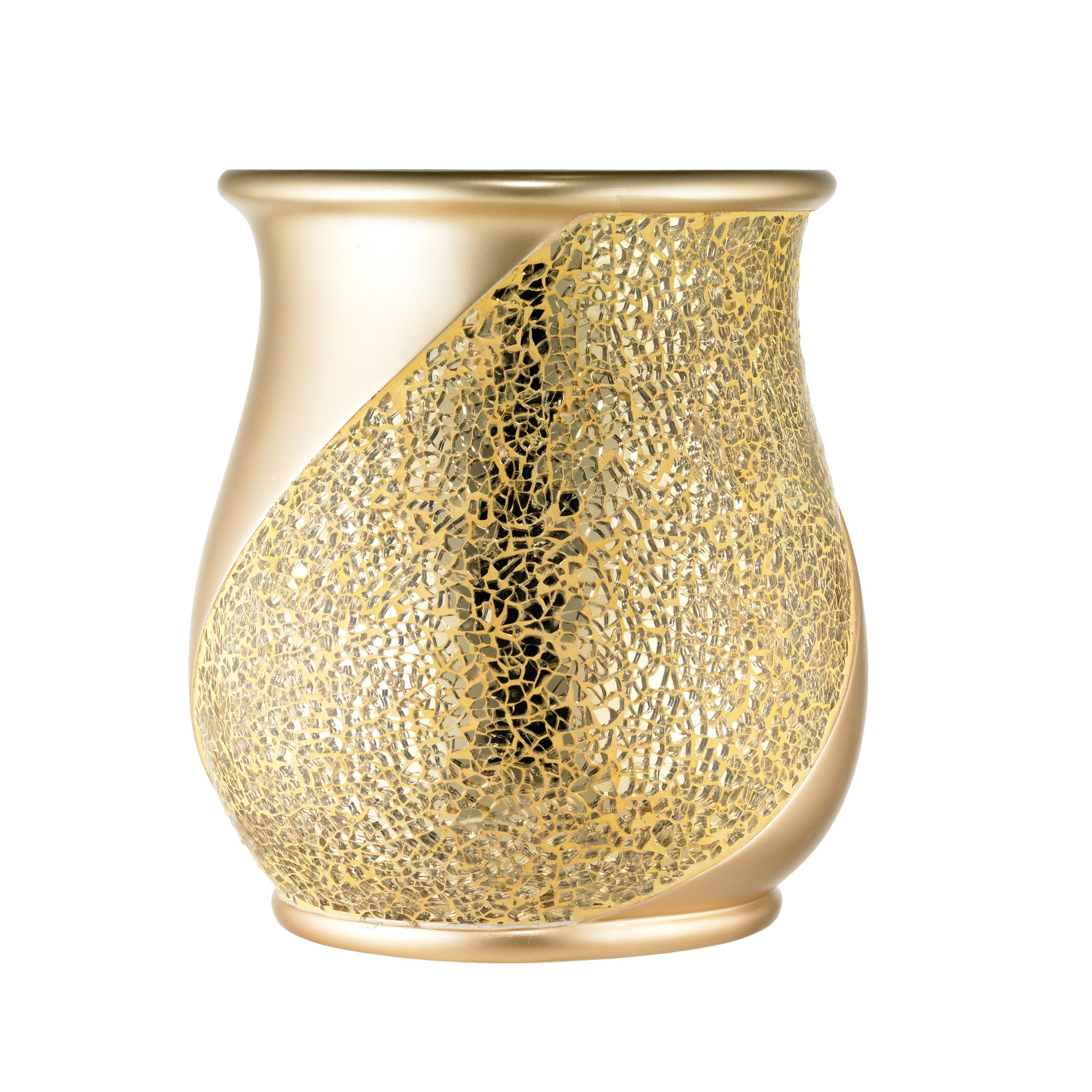 Popular Bath Waste Basket, Sinatra Collection, Champagne/Gold