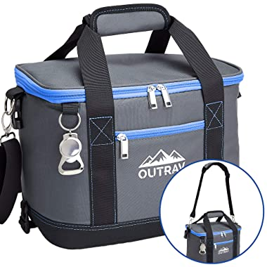 Collapsible Insulated Cooler Bag – 6L Thermal Lunch Bag with Bottle Opener, 16 Can Capacity – Perfect For Camping, Picnics and Travel - Handles and Removable Shoulder Strap - By Outrav
