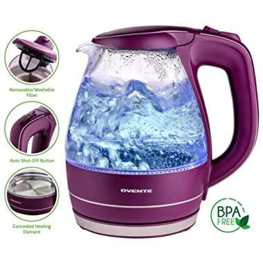 Ovente 1.5L BPA-Free Glass Electric Kettle, Fast Heating with Auto Shut-Off and Boil-Dry Protection, Cordless, LED Light Indicator, Purple (KG83P)