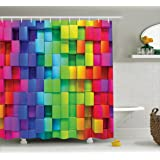 Colorful Home Decor Shower Curtain by Ambesonne, Rainbow Color Contour Display Futuristic Block Brick-Like Geometric Artisan, Fabric Bathroom Decor Set with Hooks, 70 Inches, Multi
