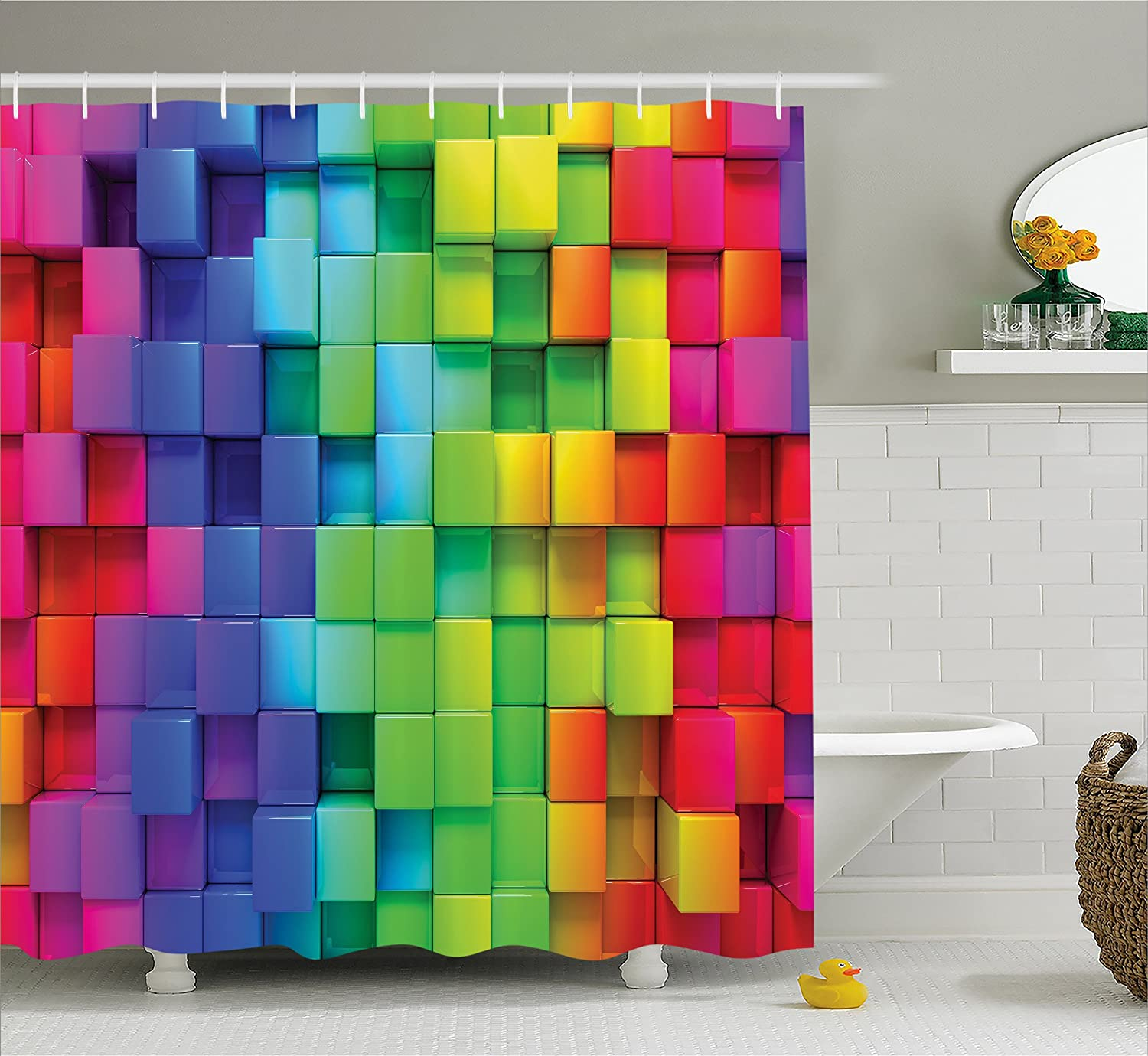 Ambesonne Colorful Home Decor Shower Curtain, Rainbow Color Contour Display Futuristic Block Brick-Like Geometric Artisan, Fabric Bathroom Decor Set with Hooks, 84 Inches Extra Long, Multi