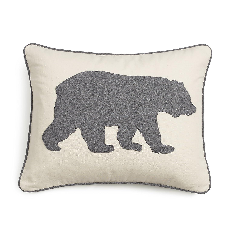 Eddie Bauer Bear Twill Decorative Pillow, Gray