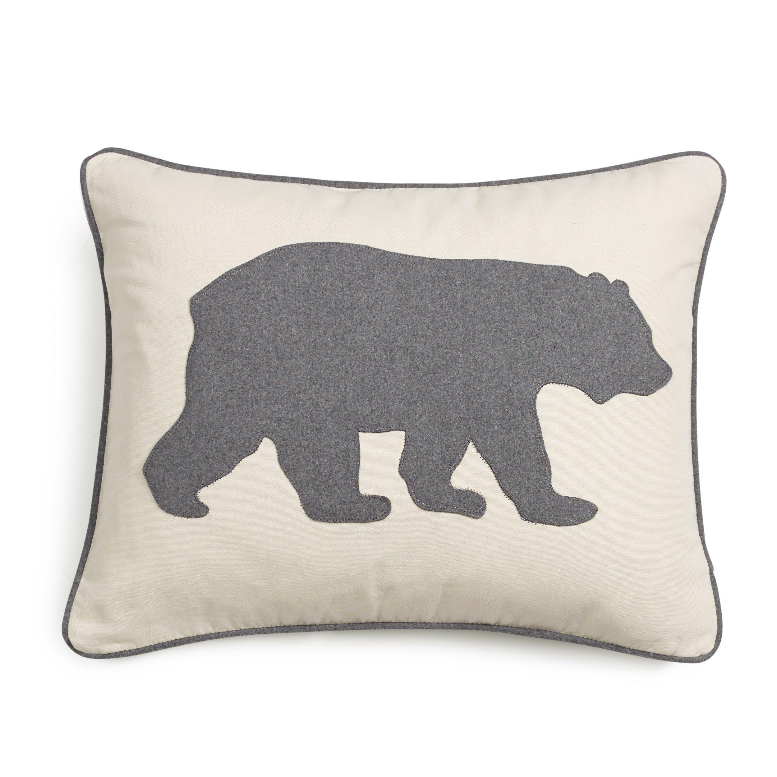 Eddie Bauer Bear Twill Decorative Pillow, Gray by Eddie Bauer