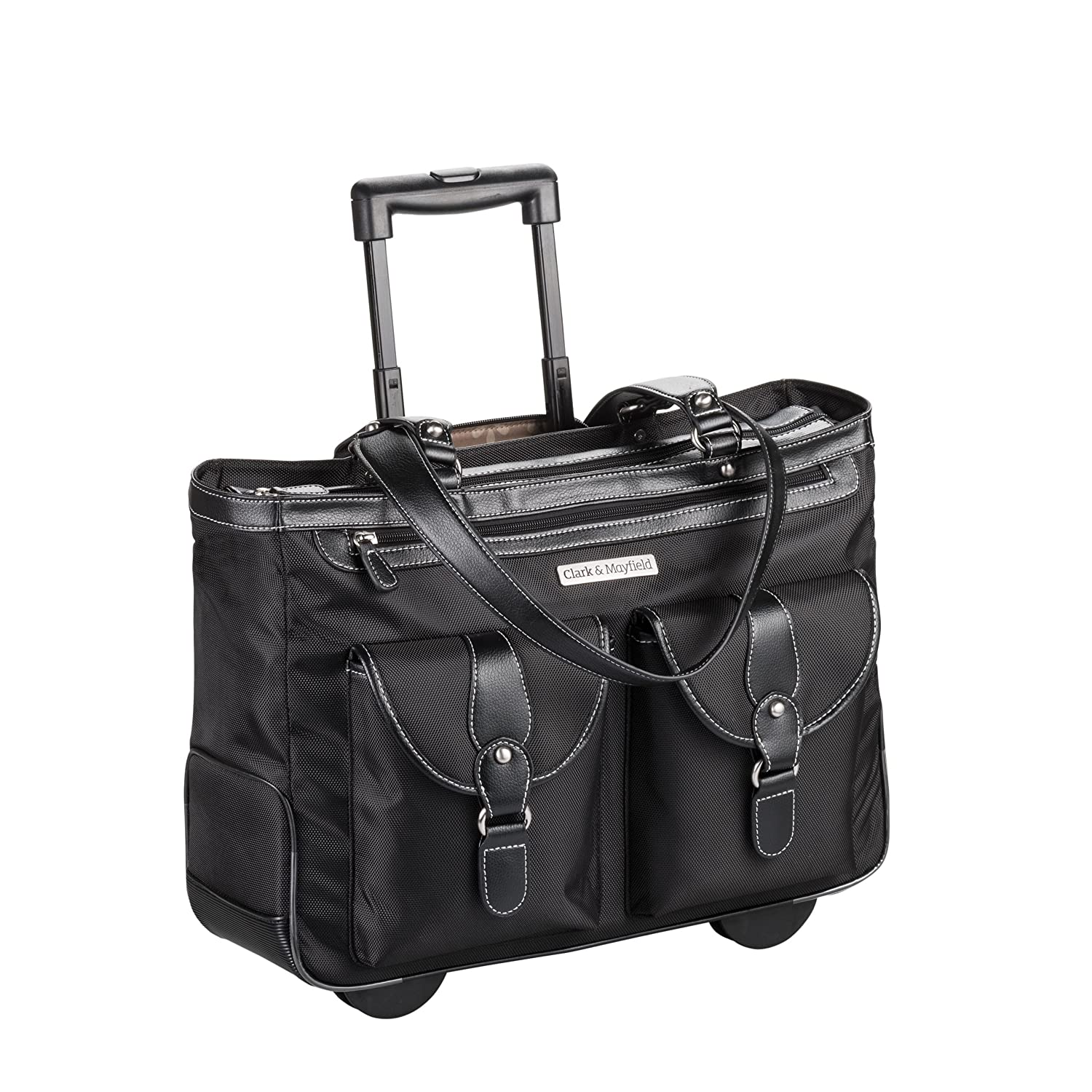 "Amazon.com: Clark & Mayfield Marquam Rolling Laptop Tote 18.4"" (Black):  Computers & Accessories"