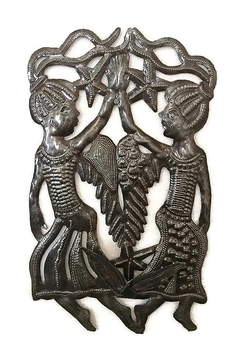 Amazon.com: Gemelos Bring suerte, ángeles Haití metal Art 9 ...