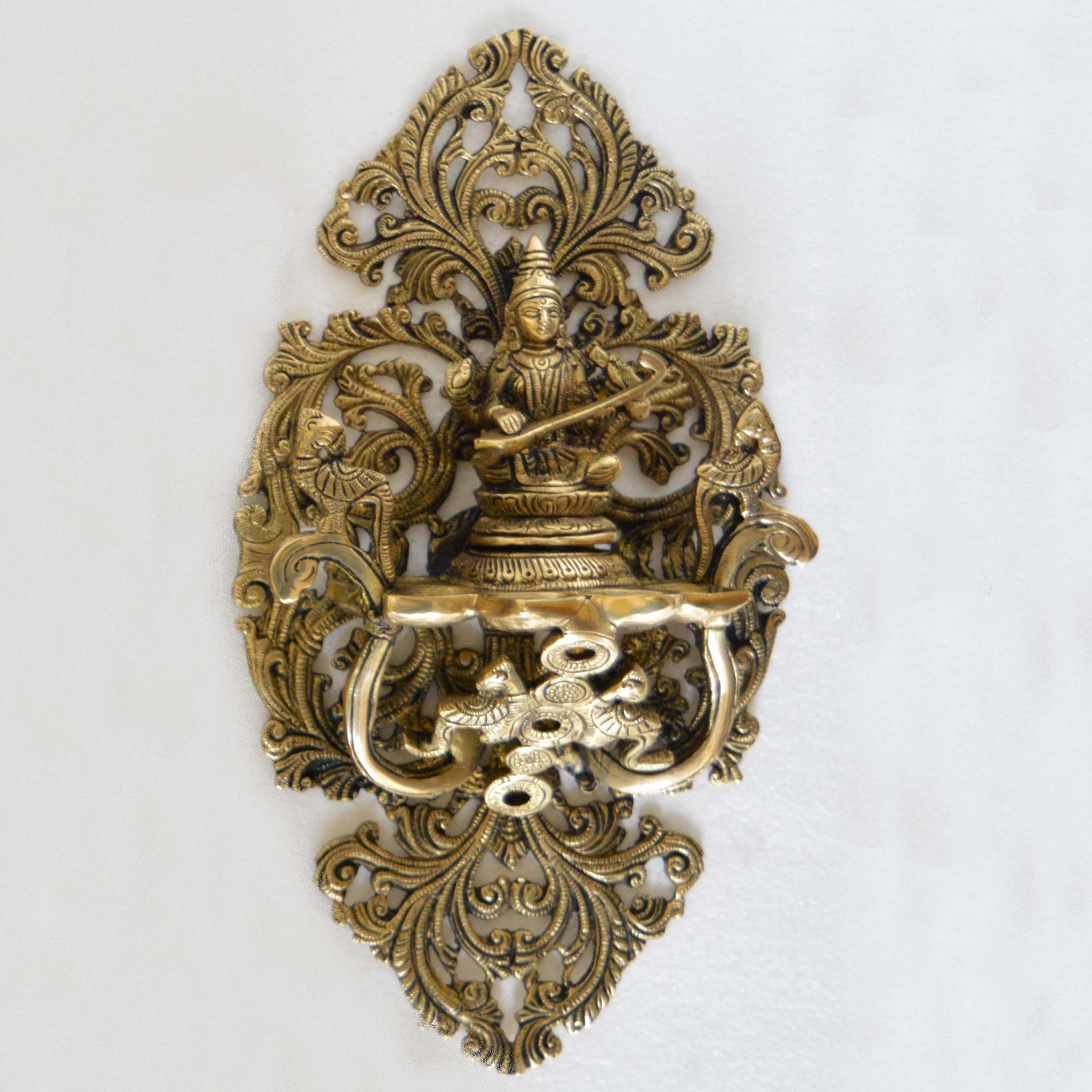 Goddess Saraswati Wall Plate Oil Deepak Or Diya with Unique Carving for Decor and Gifting Home decoration And wall décor
