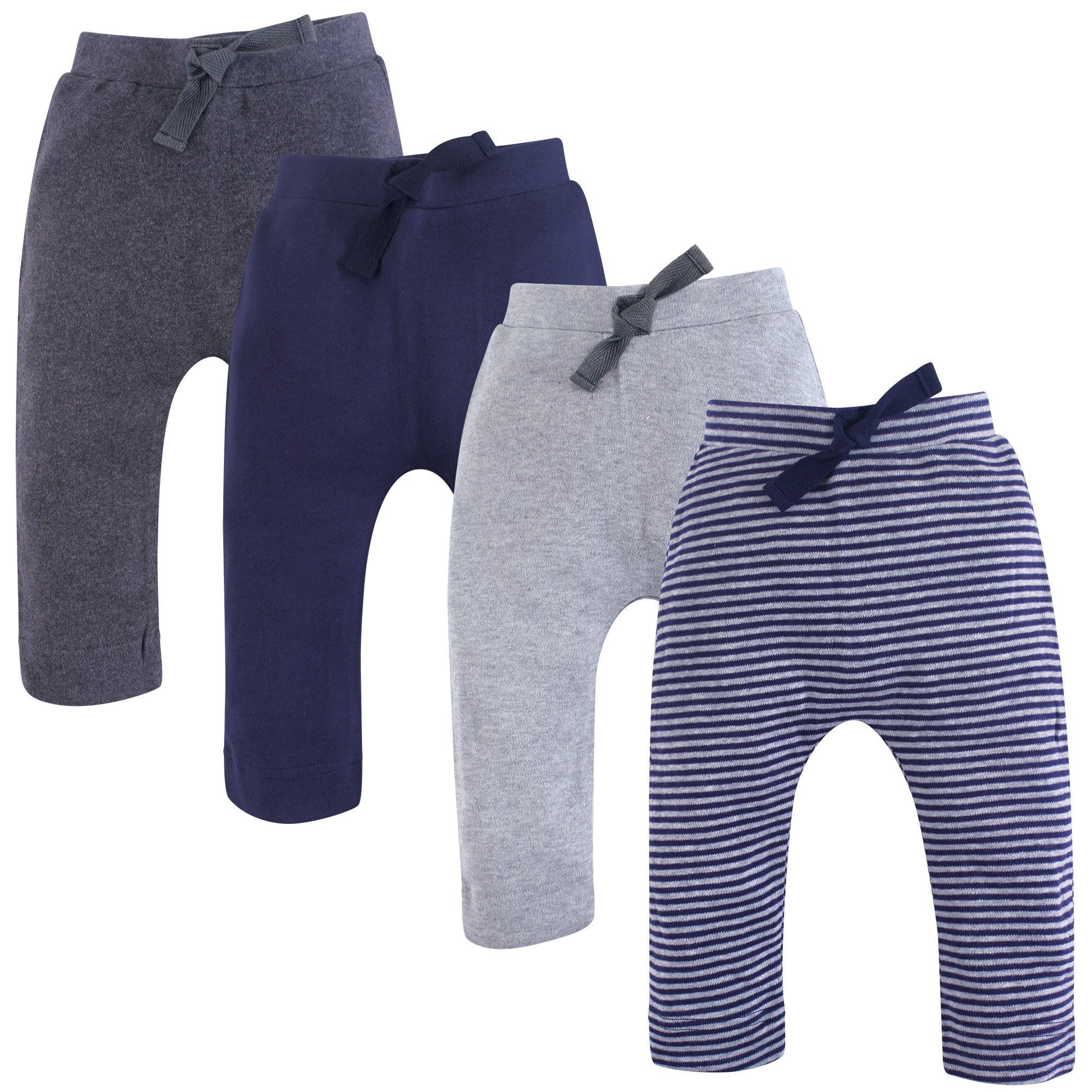 Touched by Nature Baby Organic Cotton Pants, Navy and Gray 4Pk, 6-9 Months