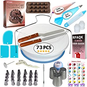 73 pcs Cake Decorating Supplies Kit for Beginners- Baking Supplies- 1 Turntable stand-24 Numbered icing tips-1 Cake Leveler-Straight & Angled Spatula- baking accessories & Cake tools- 3 Russian tips