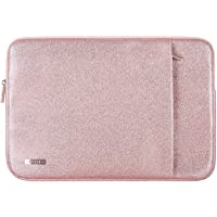 Comfyable Laptop Sleeve for 13 Inch New MacBook Pro 2016-2018 with Pocket- Waterproof & Soft Cover- Rose Gold Pink Glitter