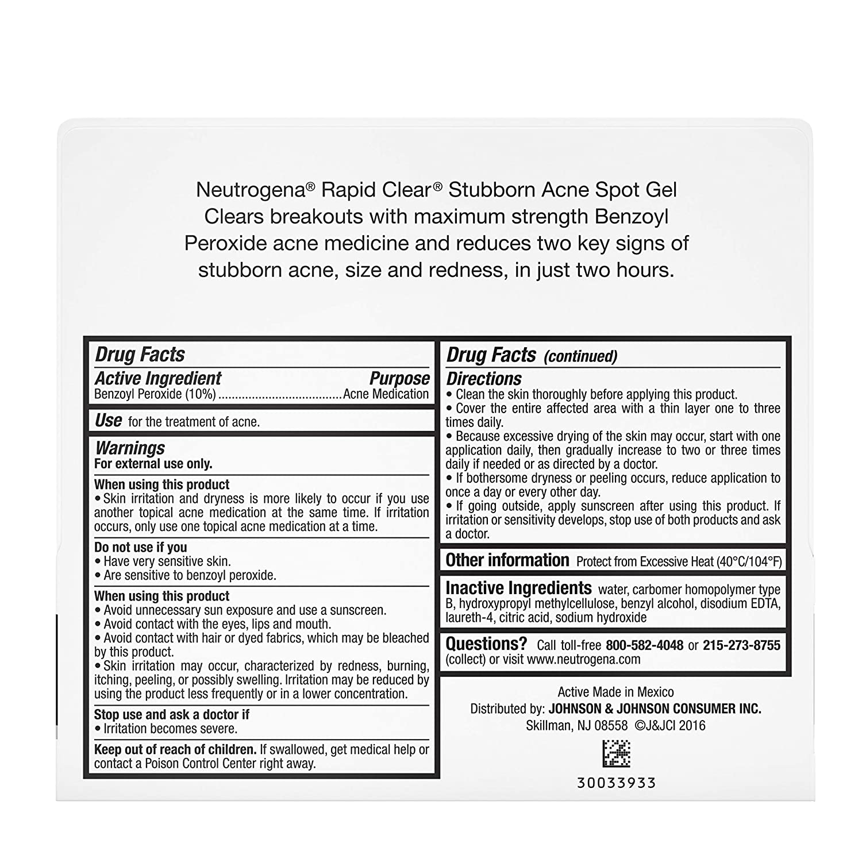 Amazon Com Neutrogena Rapid Clear Stubborn Acne Spot Treatment Gel With Maximum Strength Benzoyl Peroxide Acne Treatment Medicine Pimple Cream For Acne Prone Skin With 10 Benzoyl Peroxide 1 Oz Beauty