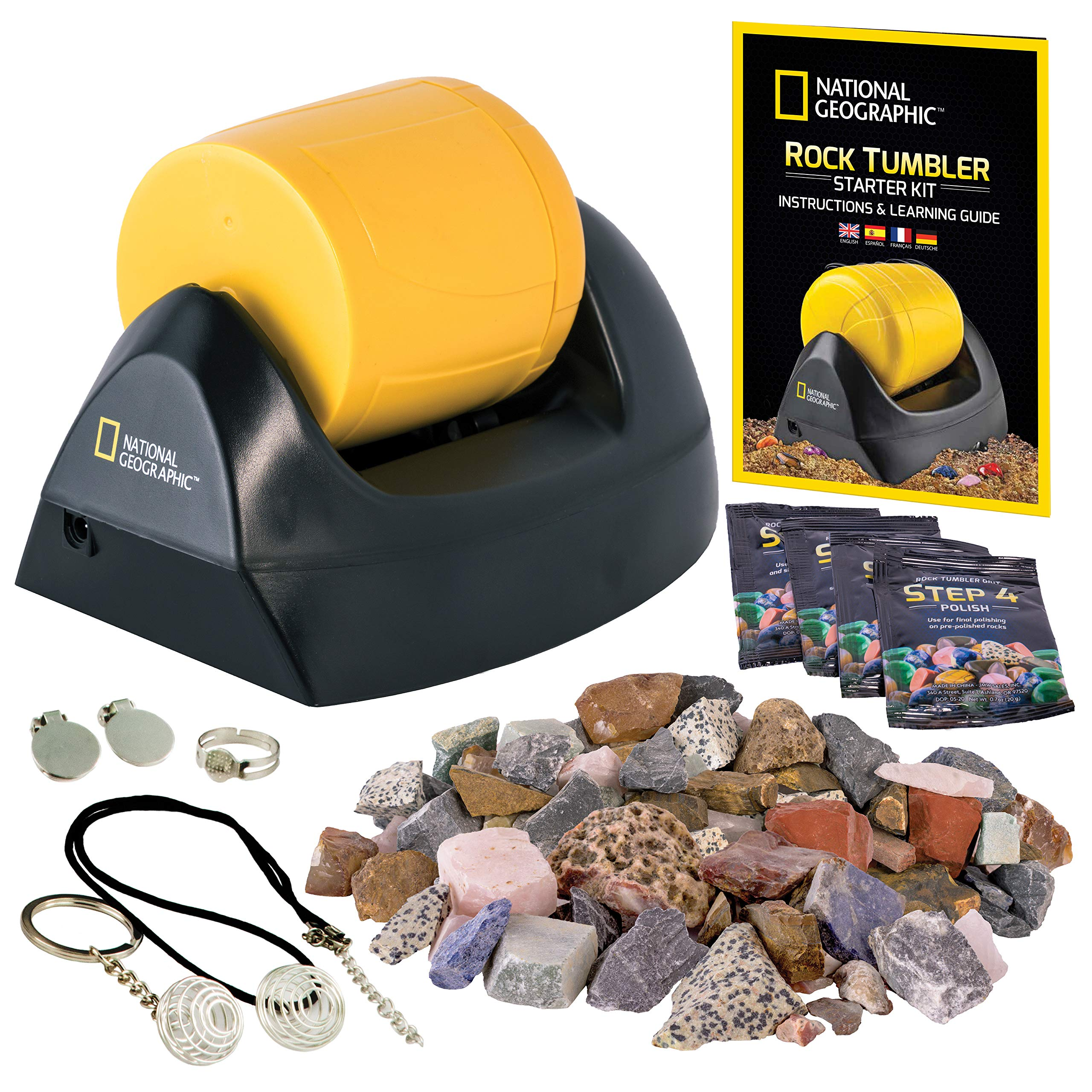 GemFoam Polishing Media Great STEM Science Kit Jewelry Fastenings and Detailed Learning Guide Includes Rough Gemstones 4 Polishing Grits NATIONAL GEOGRAPHIC Hobby Rock Tumbler Kit