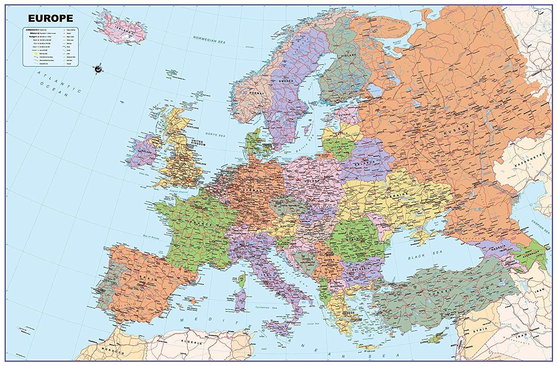 Lelestar Europe Map Vinyl GM A0 Size 84.1 x 118.9 cm