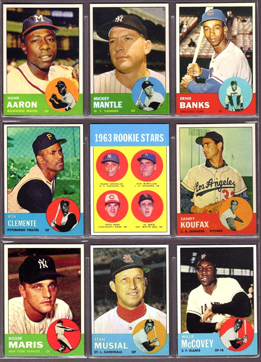 1963 Topps Baseball 9 Card Reprint Lot Hank Aaron Mickey