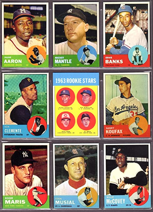 1963 Topps Baseball 9 Card Reprint Lot Hank Aaron Mickey