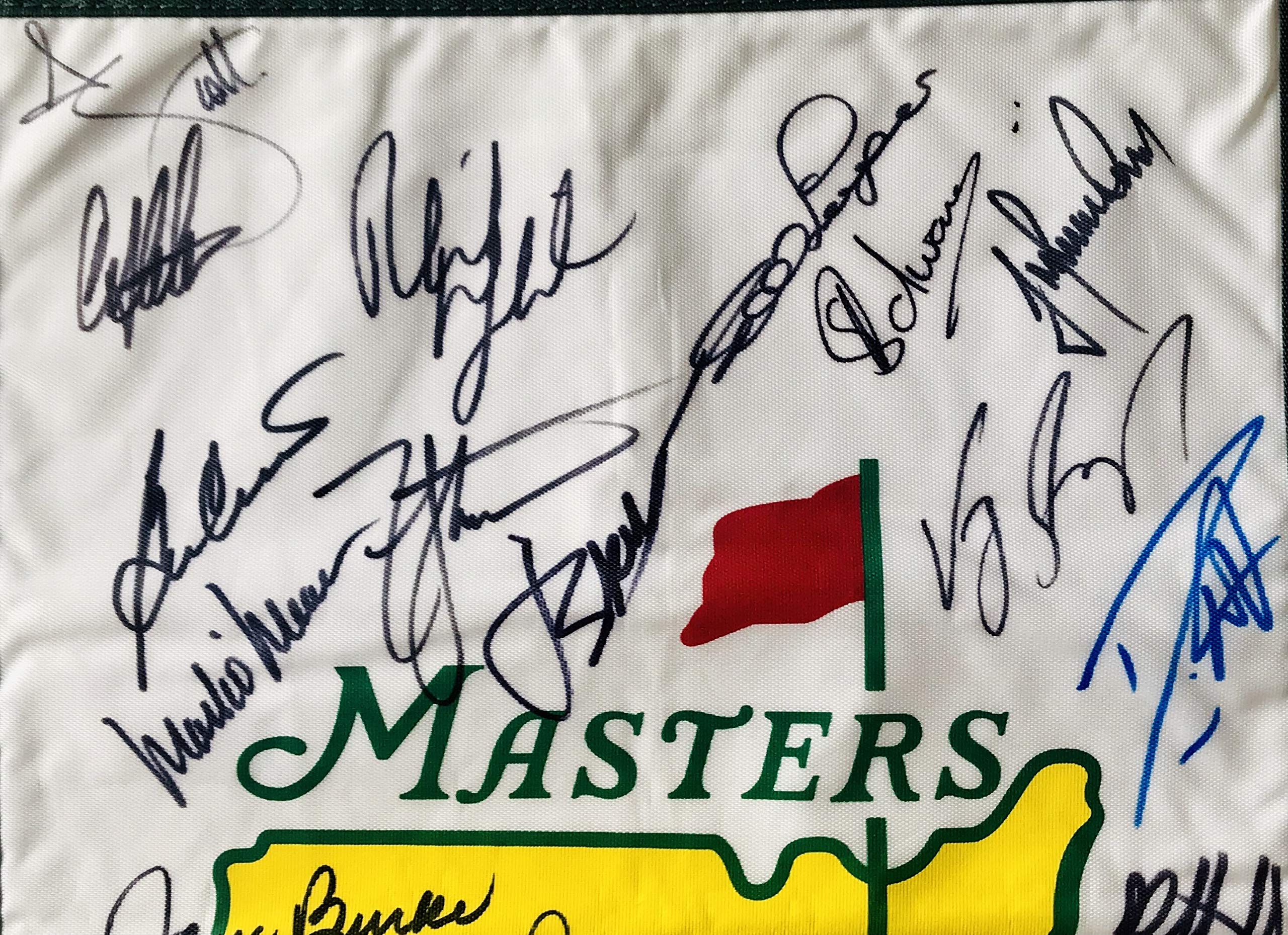 Masters golf champs signed flag Jack Nicklaus Arnold Palmer gary player phil mickelson beckett loa