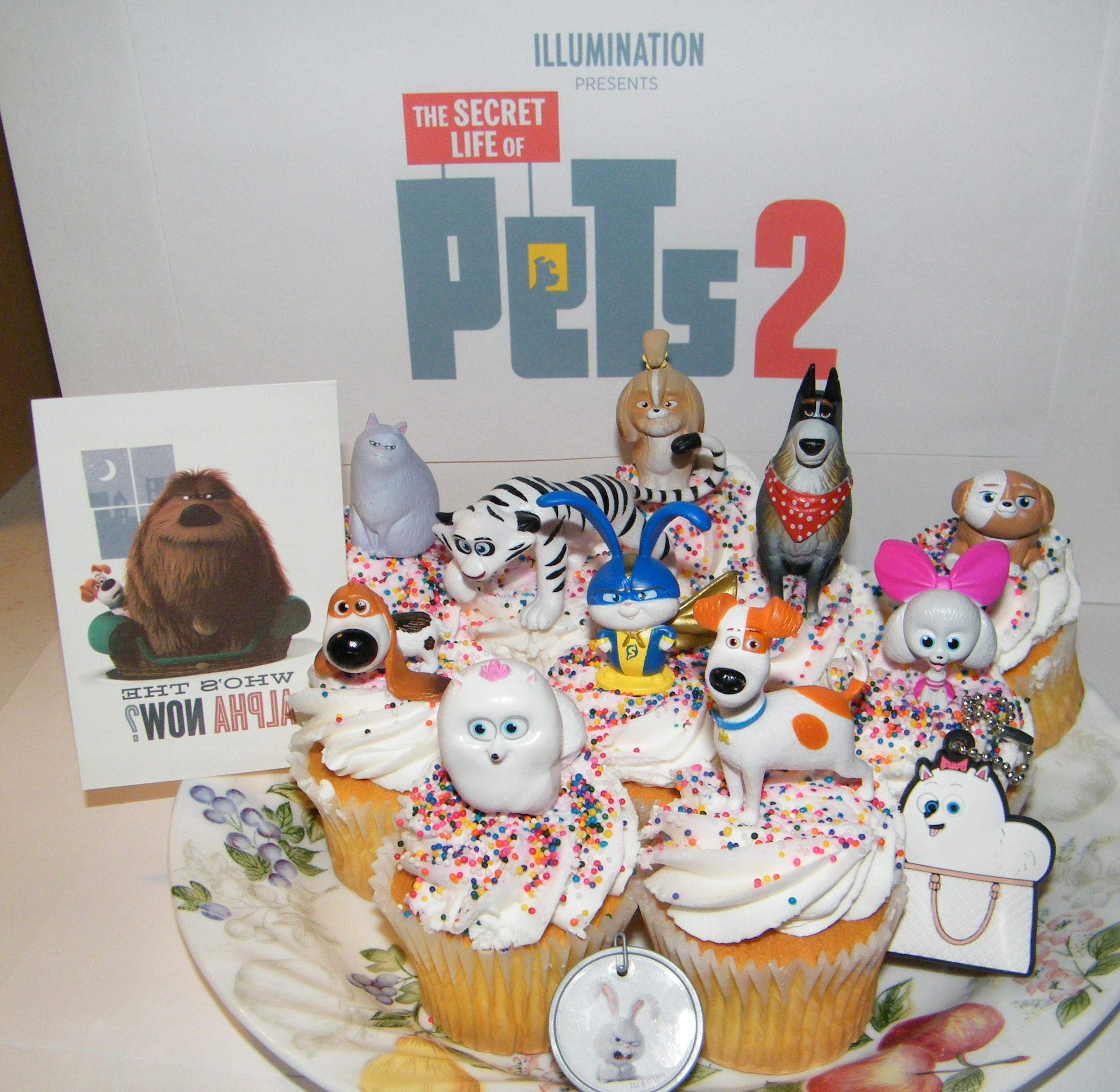The Secret Life of Pets 2 Movie Deluxe Cake Toppers Cupcake Decorations 13 Set with 10 Figures, Pet Tattoo, Dog Tag Ring, Key chain with Original and All New Characters! by Party Fun
