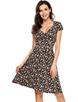 Zeagoo Women's Rayon Wrap Floral Print Flare Summer Dress