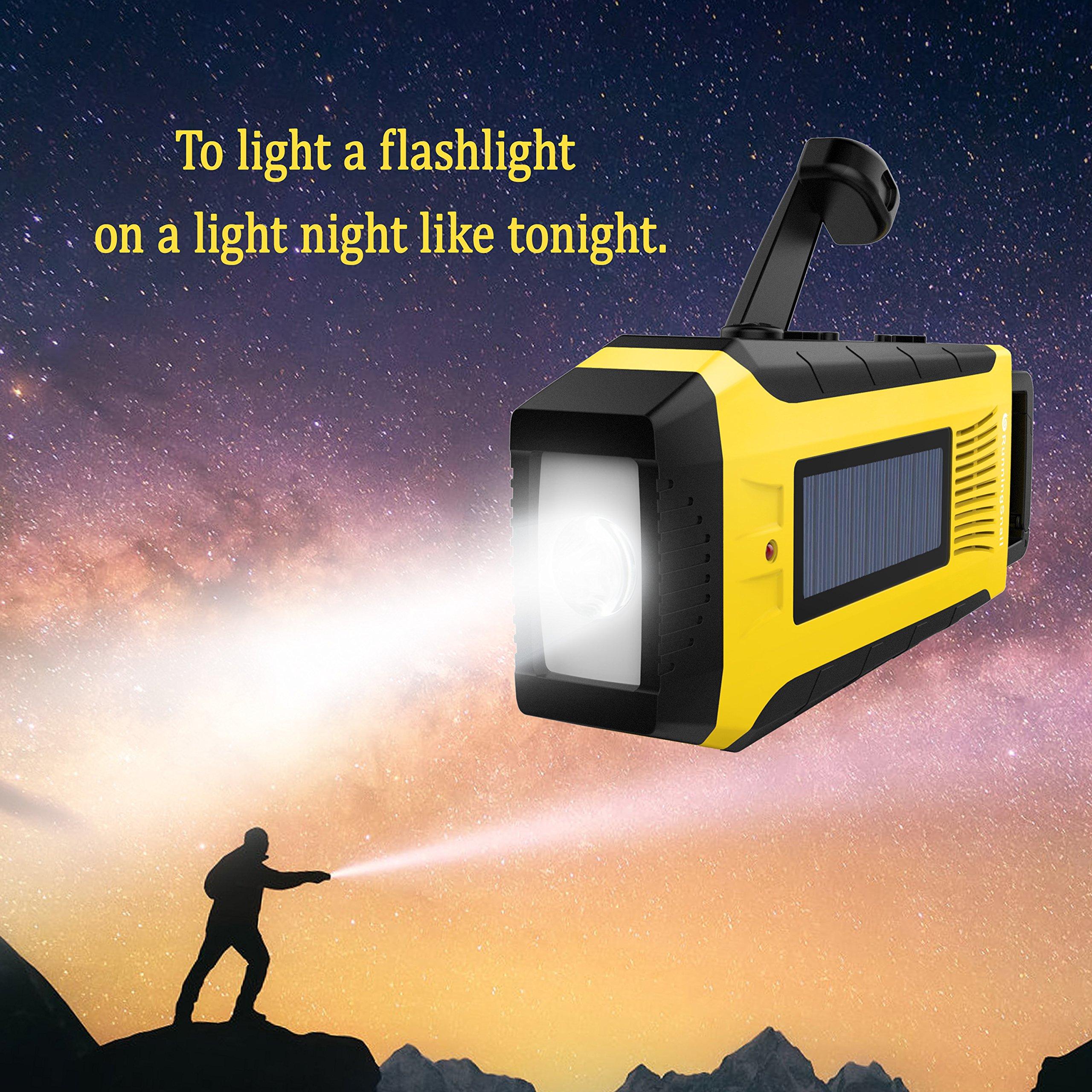 RunningSnail AM/FM NOAA Weather Emergency Solar Digital Crank Radio with 3W LED Flashlight, SOS Alarm & 2000MAh Power Bank(Yellow) … by RunningSnail (Image #4)