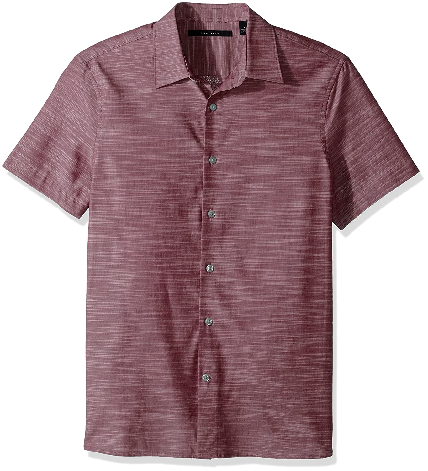 Perry Ellis Mens / Short Sleeve Solid Slub Texture Shirt