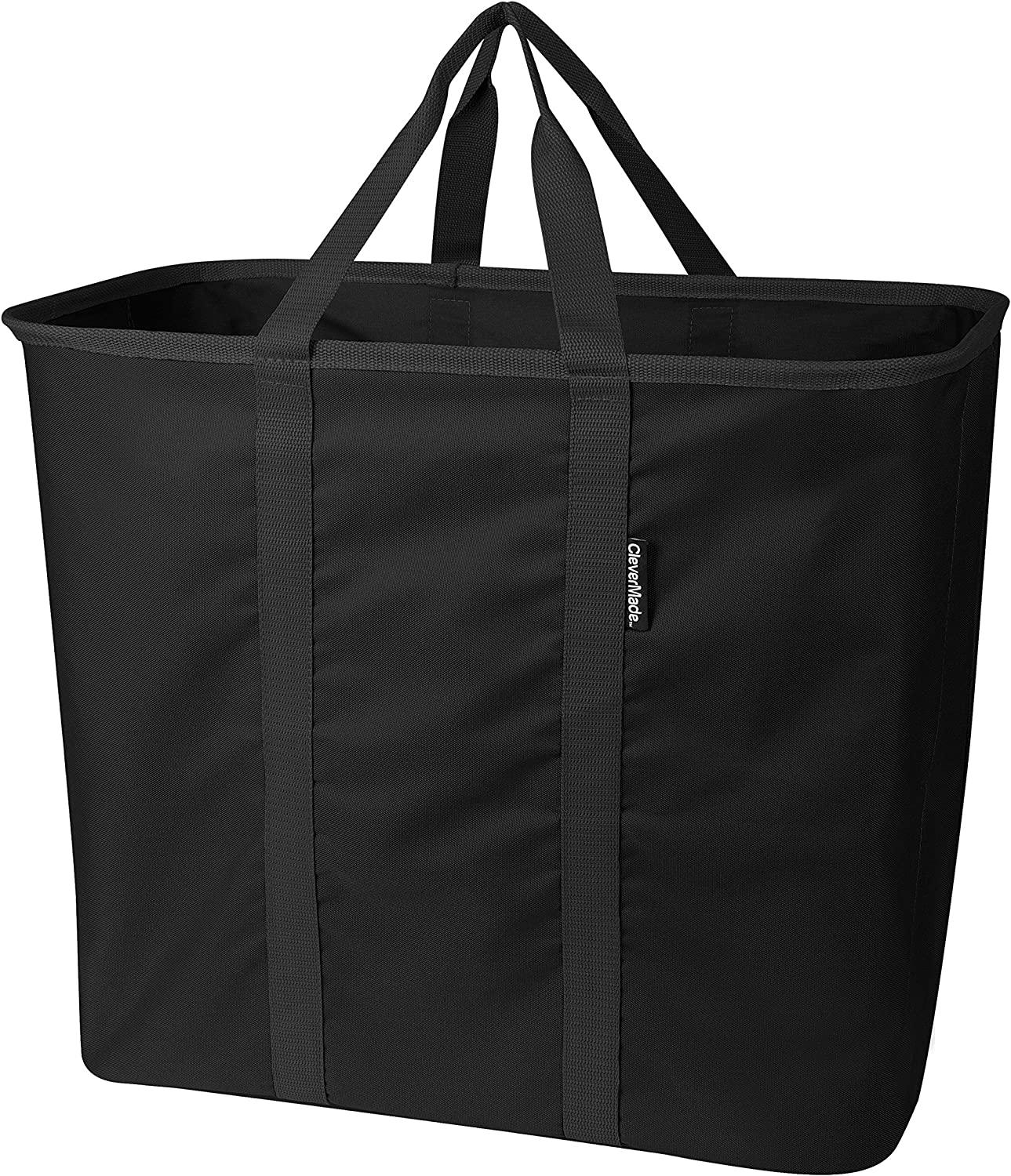 CleverMade SnapBasket LaundryCaddy/CarryAll XL Pop-Up Hamper: Collapsible Laundry Basket/Tote Bag, Black/Black