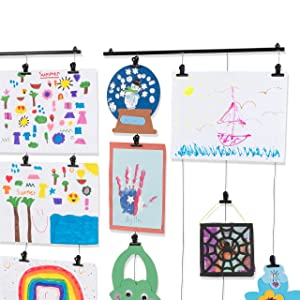2 Pack Hanging Picture Display Photo Holders with Metal Cable Strings and 40 Magnetic Clips Metal Black