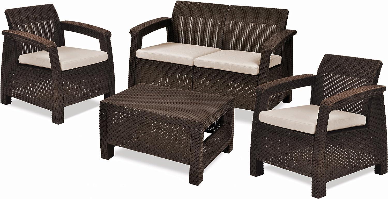 Keter Corfu 5 Piece Set All Weather Outdoor Patio Garden Furniture w/  Cushions, Brown
