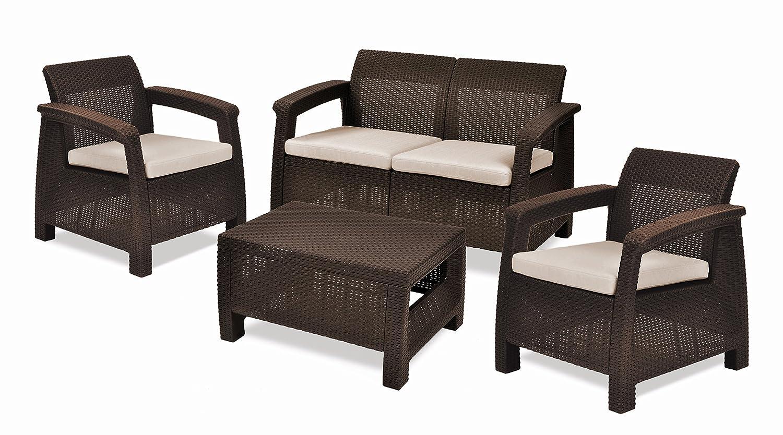 すべての天気屋外パティオガーデン家具クッション/W、ブラウン設定しコルフ島4ピース B007MJFI0Y