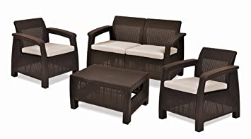 Keter Corfu 4 Piece Set All Weather Outdoor Patio Garden Furniture W/  Cushions, Brown