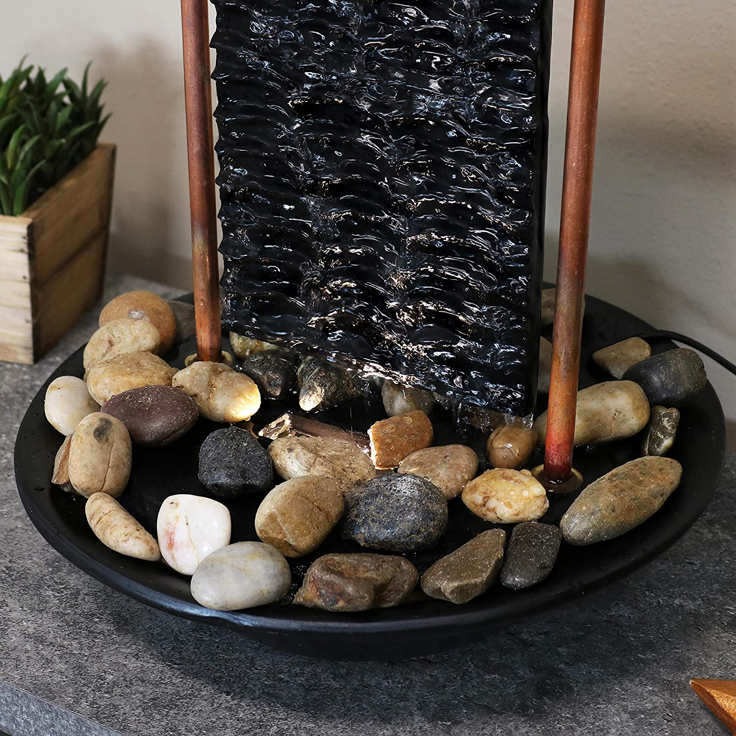Sunnydaze Billowing Slate Tabletop Water Fountain - Mini Indoor Water Fountain with LED Light - Relaxing Home Decor Accent Piece for Living Room, Office or Bedroom - 16-Inch: Kitchen & Dining