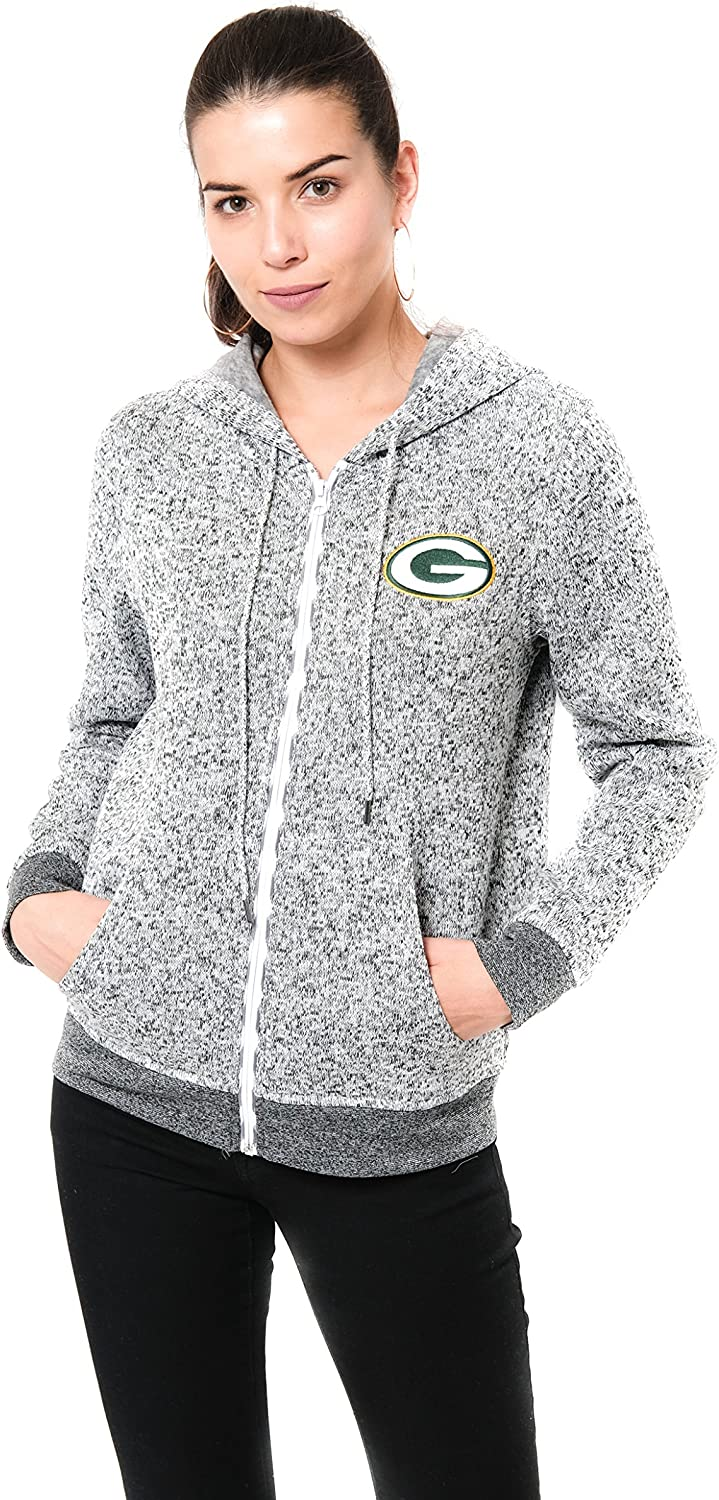 Ultra Game NFL Womens Full-Zip Hoodie Sweatshirt Marl Knit Jacket