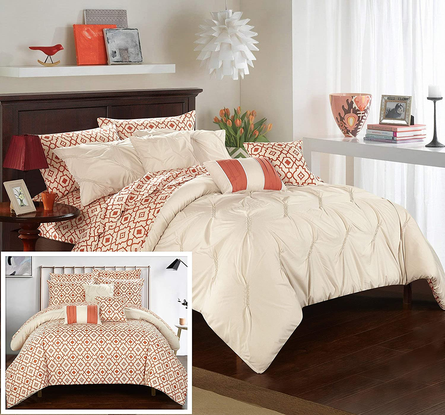 Chic Home 10 Piece Sabrina Pinch, Ruffled and Pleated Printed Reversible Complete Queen Bed in a Bag Comforter Beige with Sheet Set