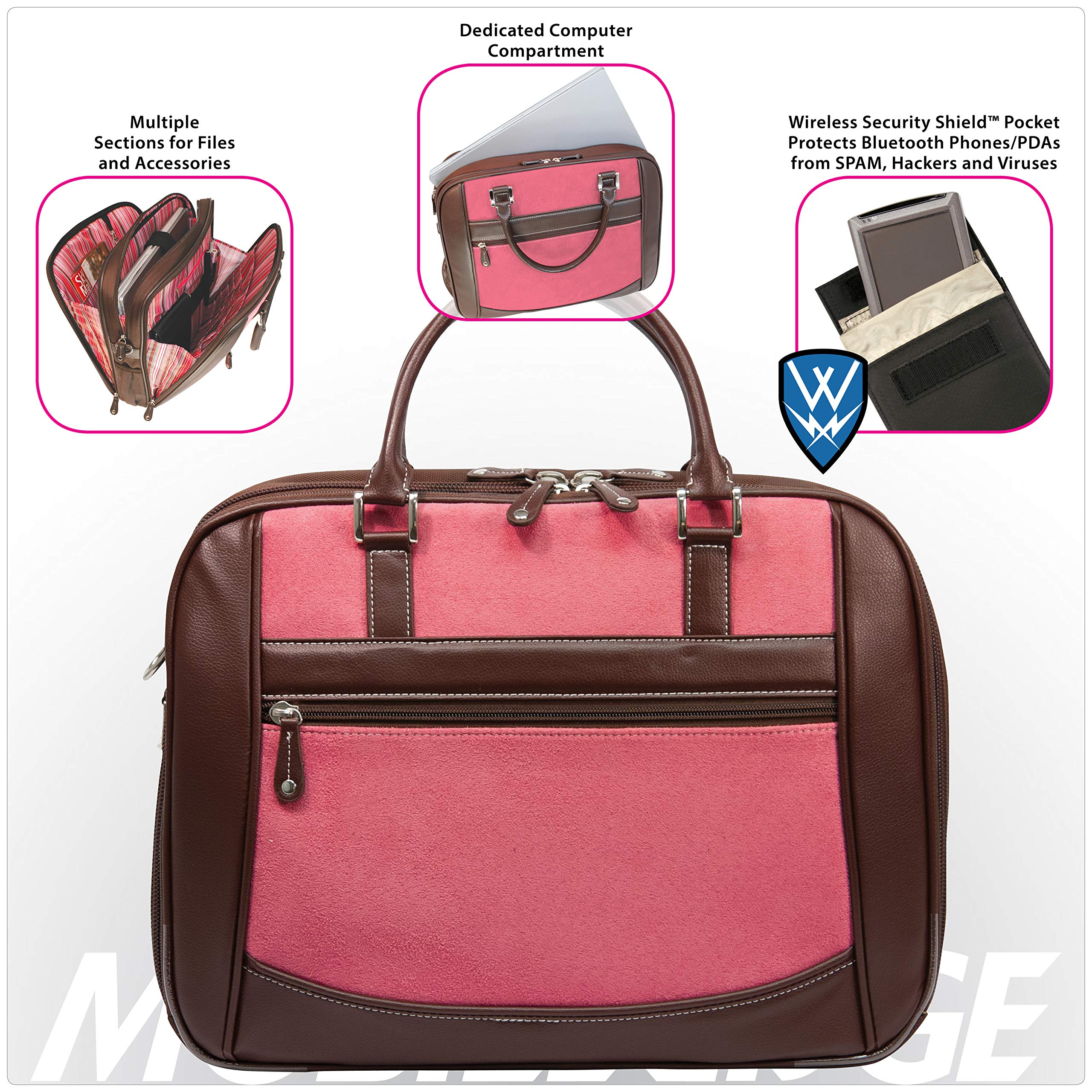Mobile Edge Women's Black w/Pink, Checkpoint Friendly Element Laptop Briefcase 16 Inch PC, 17 Inch MacBook, Business, Travel MESFEBX by Mobile Edge (Image #3)