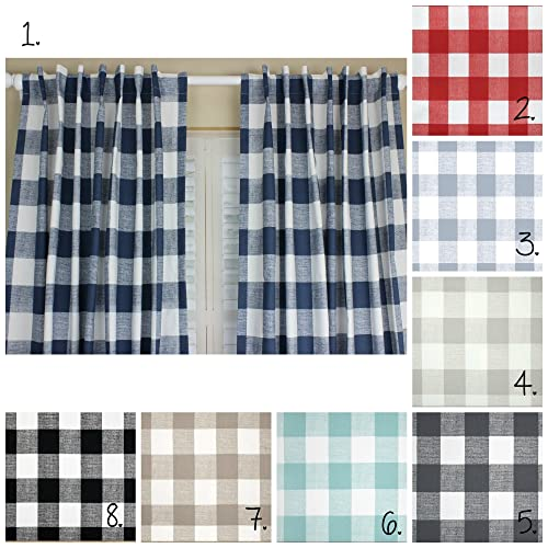 Buffalo Plaid Curtain Panel Set Curtains Navy Blue Nursery Boy Gray Red