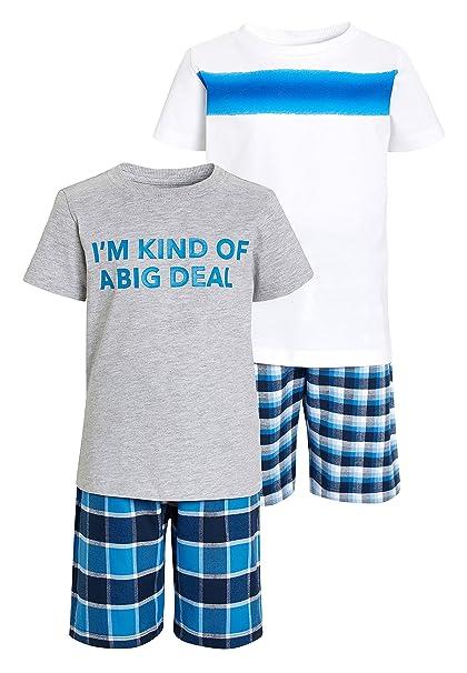 next Niños Pack De Dos Pijamas Cortos con Eslogan (3-16 Años) Azul/Gris 16 años: Amazon.es: Ropa y accesorios