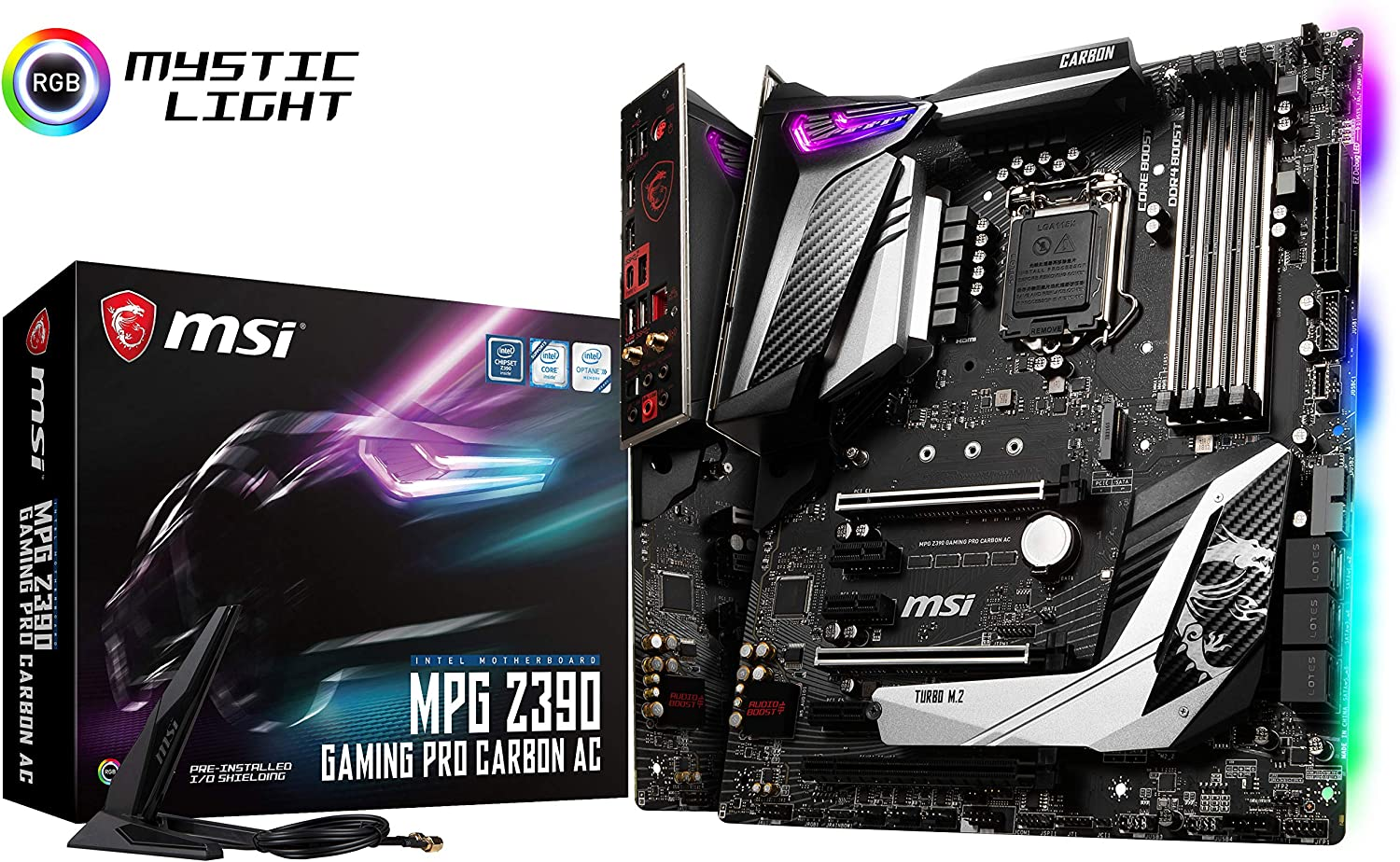 MSI MPG Z390 Gaming PRO Carbon AC LGA1151 (Intel 8th and 9th Gen) M.2 USB 3.1 Gen 2 DDR4 HDMI DP Wi-Fi SLI CFX ATX Z390 Gaming Motherboard