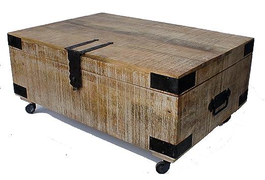 Natural Living Raw Pulido Mango baúl Mesa de café sobre Ruedas ...