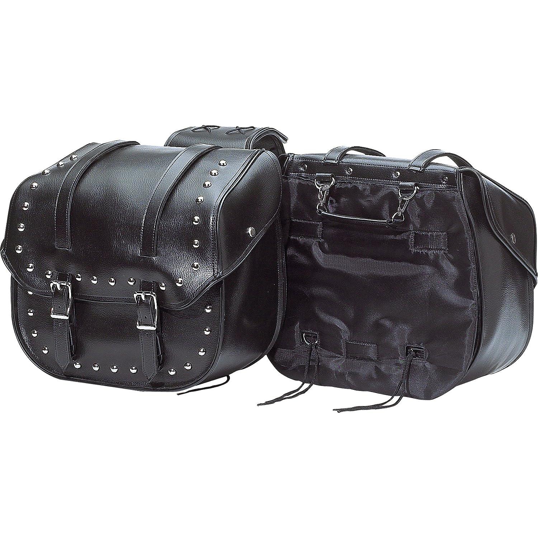 Diamond Plate Waterproof PVC Studded Motorcycle Saddle Bag Set