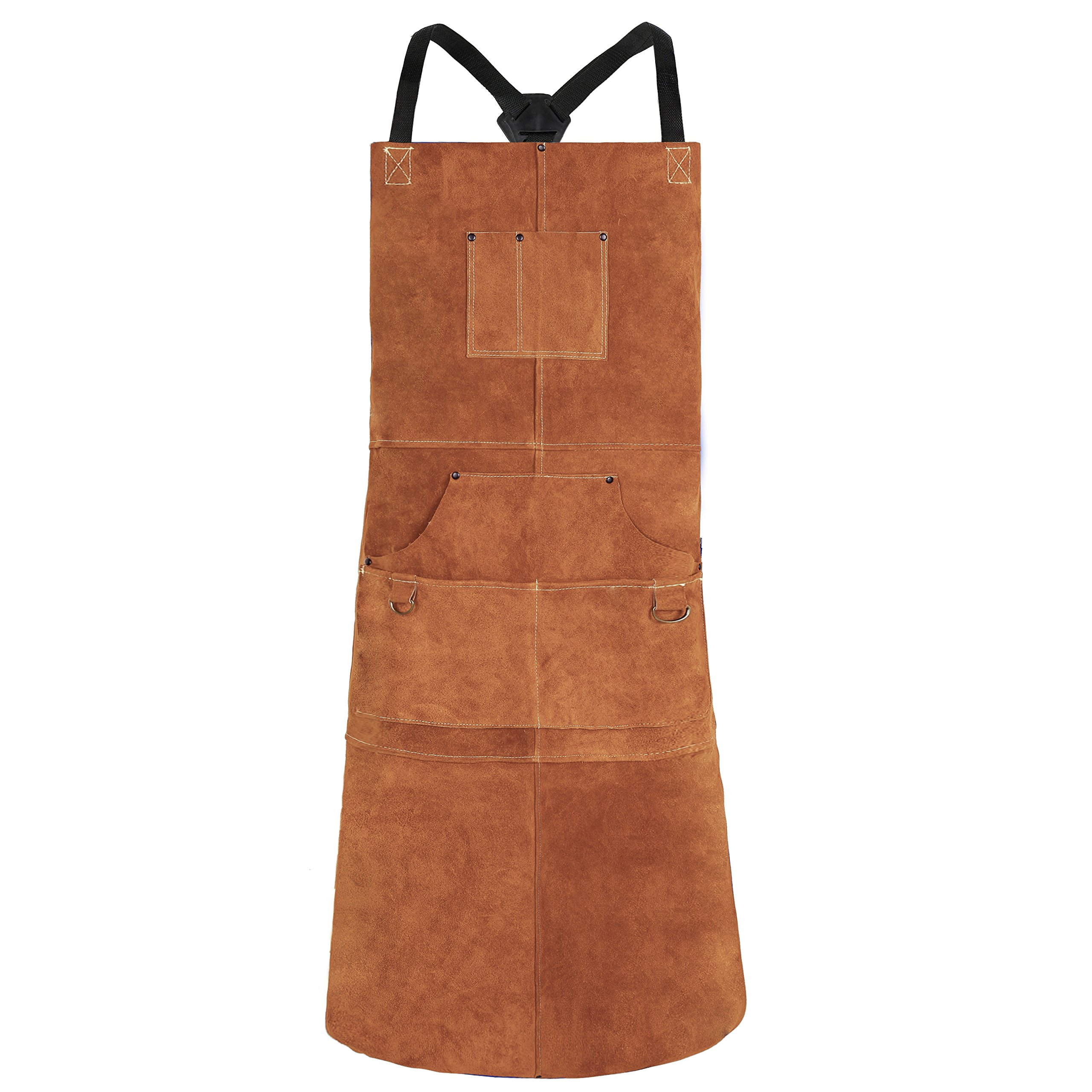QeeLink Leather Welding Apron - Heat & Flame-Resistant Heavy Duty Work Apron with 6 Pockets, 42'' Extra Large & Cross Back Extra Long Strap, Adjustable M to XXXL Aprons for Men & Women (Brown)