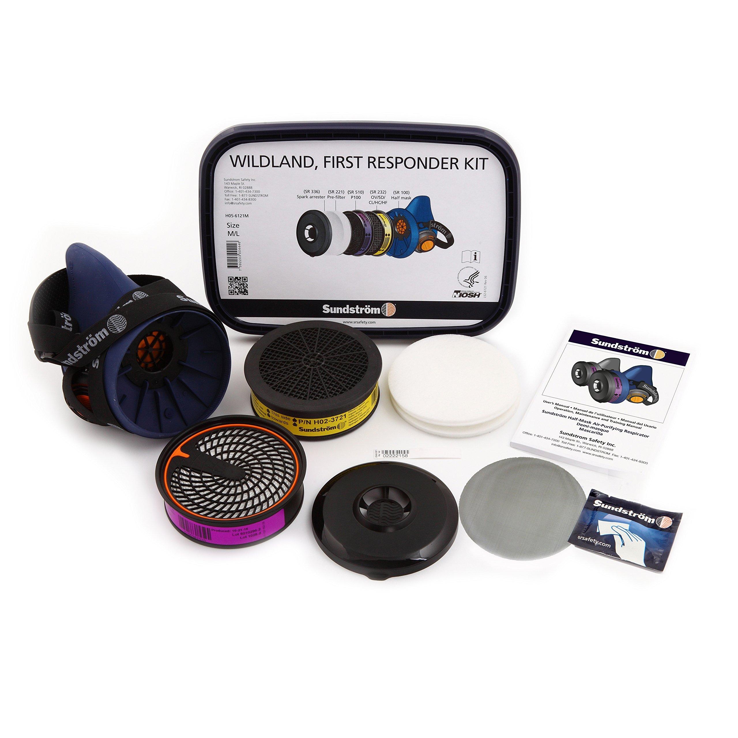Sundström H05-6121L Wildland First Responder Respirator Kit, SR 100 Silicone Half mask, Large/XL, P100/HE particulate Filter, SR 232 OV/SD/CL/HC/HF Cartridge, prefilters, Spark Arrester